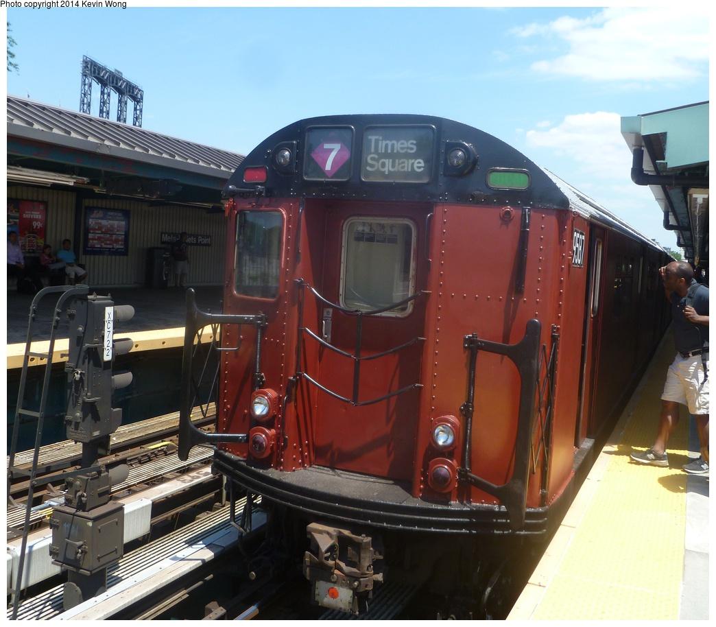 (331k, 1044x914)<br><b>Country:</b> United States<br><b>City:</b> New York<br><b>System:</b> New York City Transit<br><b>Line:</b> IRT Flushing Line<br><b>Location:</b> Willets Point/Mets (fmr. Shea Stadium) <br><b>Route:</b> Fan Trip<br><b>Car:</b> R-36 World's Fair (St. Louis, 1963-64) 9587 <br><b>Photo by:</b> Kevin Wong<br><b>Date:</b> 6/8/2014<br><b>Viewed (this week/total):</b> 2 / 1173