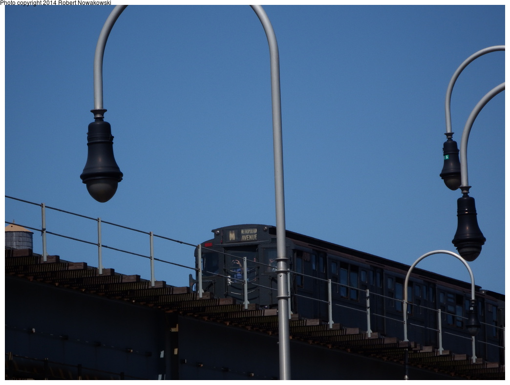 (200k, 1044x788)<br><b>Country:</b> United States<br><b>City:</b> New York<br><b>System:</b> New York City Transit<br><b>Line:</b> BMT Nassau Street/Jamaica Line<br><b>Location:</b> Williamsburg Bridge<br><b>Route:</b> Museum Train Service (M)<br><b>Car:</b> R-6-1 (Pressed Steel, 1936)  1300 <br><b>Photo by:</b> Robert Nowakowski<br><b>Date:</b> 6/7/2014<br><b>Viewed (this week/total):</b> 1 / 1321