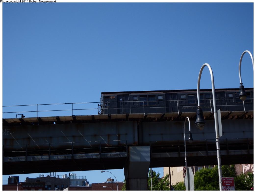 (219k, 1044x788)<br><b>Country:</b> United States<br><b>City:</b> New York<br><b>System:</b> New York City Transit<br><b>Line:</b> BMT Nassau Street/Jamaica Line<br><b>Location:</b> Williamsburg Bridge<br><b>Route:</b> Museum Train Service (M)<br><b>Car:</b> R-6-1 (Pressed Steel, 1936)  1300 <br><b>Photo by:</b> Robert Nowakowski<br><b>Date:</b> 6/7/2014<br><b>Viewed (this week/total):</b> 4 / 679