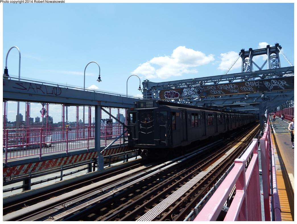 (365k, 1044x788)<br><b>Country:</b> United States<br><b>City:</b> New York<br><b>System:</b> New York City Transit<br><b>Line:</b> BMT Nassau Street/Jamaica Line<br><b>Location:</b> Williamsburg Bridge<br><b>Route:</b> Museum Train Service (M)<br><b>Car:</b> R-6-1 (Pressed Steel, 1936)  1300 <br><b>Photo by:</b> Robert Nowakowski<br><b>Date:</b> 6/7/2014<br><b>Viewed (this week/total):</b> 2 / 947