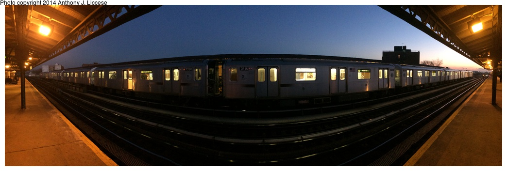 (130k, 1044x353)<br><b>Country:</b> United States<br><b>City:</b> New York<br><b>System:</b> New York City Transit<br><b>Line:</b> IRT Pelham Line<br><b>Location:</b> Buhre Avenue <br><b>Route:</b> 6<br><b>Car:</b> R-142A (Primary Order, Kawasaki, 1999-2002)  7320/7616 <br><b>Photo by:</b> Anthony J. Liccese<br><b>Date:</b> 12/31/2013<br><b>Notes:</b> Fisheye view<br><b>Viewed (this week/total):</b> 0 / 901