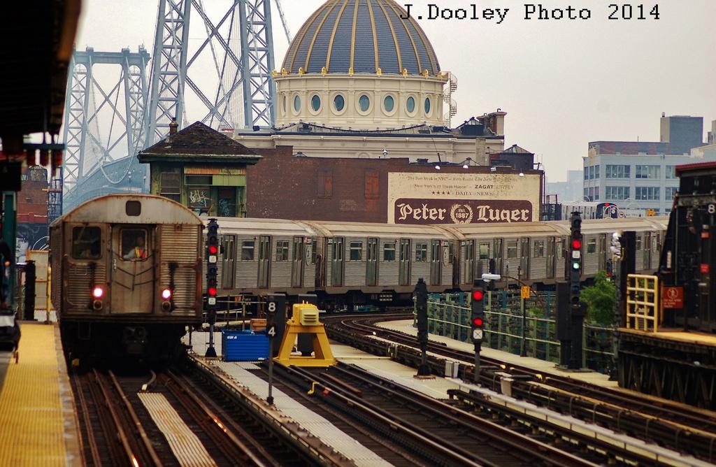 (365k, 1024x668)<br><b>Country:</b> United States<br><b>City:</b> New York<br><b>System:</b> New York City Transit<br><b>Line:</b> BMT Nassau Street/Jamaica Line<br><b>Location:</b> Marcy Avenue <br><b>Route:</b> J<br><b>Car:</b> R-32 (Budd, 1964)   <br><b>Photo by:</b> John Dooley<br><b>Date:</b> 6/9/2014<br><b>Viewed (this week/total):</b> 1 / 1041