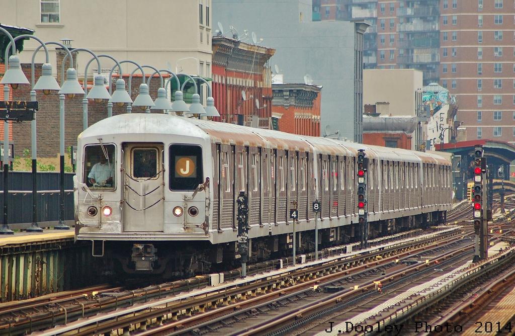 (398k, 1024x668)<br><b>Country:</b> United States<br><b>City:</b> New York<br><b>System:</b> New York City Transit<br><b>Line:</b> BMT Nassau Street/Jamaica Line<br><b>Location:</b> Marcy Avenue <br><b>Route:</b> J<br><b>Car:</b> R-42 (St. Louis, 1969-1970)   <br><b>Photo by:</b> John Dooley<br><b>Date:</b> 6/9/2014<br><b>Viewed (this week/total):</b> 1 / 1191