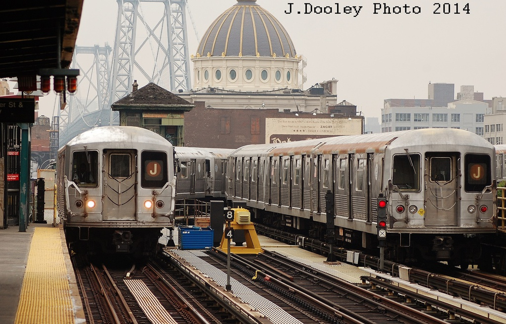 (374k, 1024x657)<br><b>Country:</b> United States<br><b>City:</b> New York<br><b>System:</b> New York City Transit<br><b>Line:</b> BMT Nassau Street/Jamaica Line<br><b>Location:</b> Marcy Avenue <br><b>Route:</b> J<br><b>Car:</b> R-42 (St. Louis, 1969-1970)   <br><b>Photo by:</b> John Dooley<br><b>Date:</b> 6/9/2014<br><b>Viewed (this week/total):</b> 1 / 1076