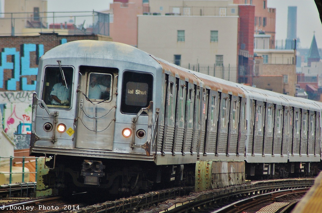 (340k, 1024x680)<br><b>Country:</b> United States<br><b>City:</b> New York<br><b>System:</b> New York City Transit<br><b>Line:</b> BMT Nassau Street/Jamaica Line<br><b>Location:</b> Flushing Avenue <br><b>Route:</b> J<br><b>Car:</b> R-42 (St. Louis, 1969-1970)   <br><b>Photo by:</b> John Dooley<br><b>Date:</b> 6/9/2014<br><b>Viewed (this week/total):</b> 0 / 1105