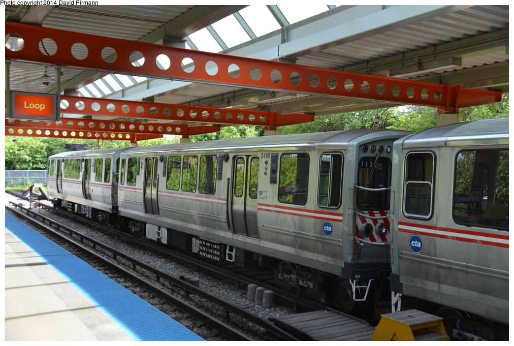 (338k, 1044x703)<br><b>Country:</b> United States<br><b>City:</b> Chicago, IL<br><b>System:</b> Chicago Transit Authority<br><b>Line:</b> CTA Orange (Midway)<br><b>Location:</b> Midway<br><b>Route:</b> Fan Trip<br><b>Car:</b> CTA 2400 Series 2405 <br><b>Photo by:</b> David Pirmann<br><b>Date:</b> 6/8/2014<br><b>Viewed (this week/total):</b> 0 / 888