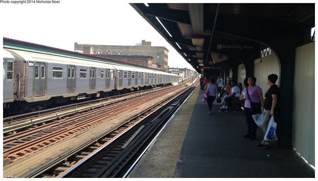 (238k, 1044x596)<br><b>Country:</b> United States<br><b>City:</b> New York<br><b>System:</b> New York City Transit<br><b>Line:</b> BMT Nassau Street/Jamaica Line<br><b>Location:</b> Flushing Avenue <br><b>Route:</b> J<br><b>Car:</b> R-32 (Budd, 1964)  3804 <br><b>Photo by:</b> Nicholas Noel<br><b>Date:</b> 6/7/2014<br><b>Viewed (this week/total):</b> 0 / 844