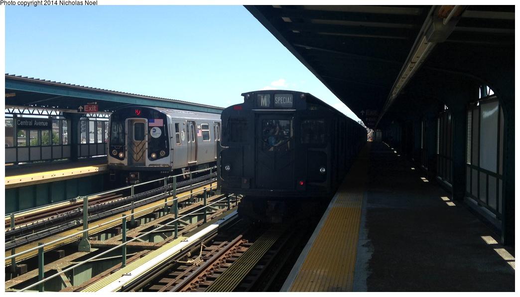 (214k, 1044x596)<br><b>Country:</b> United States<br><b>City:</b> New York<br><b>System:</b> New York City Transit<br><b>Line:</b> BMT Myrtle Avenue Line<br><b>Location:</b> Central Avenue <br><b>Route:</b> Museum Train Service (M)<br><b>Car:</b> R-9 (Pressed Steel, 1940)  1802 <br><b>Photo by:</b> Nicholas Noel<br><b>Date:</b> 6/7/2014<br><b>Viewed (this week/total):</b> 0 / 1026
