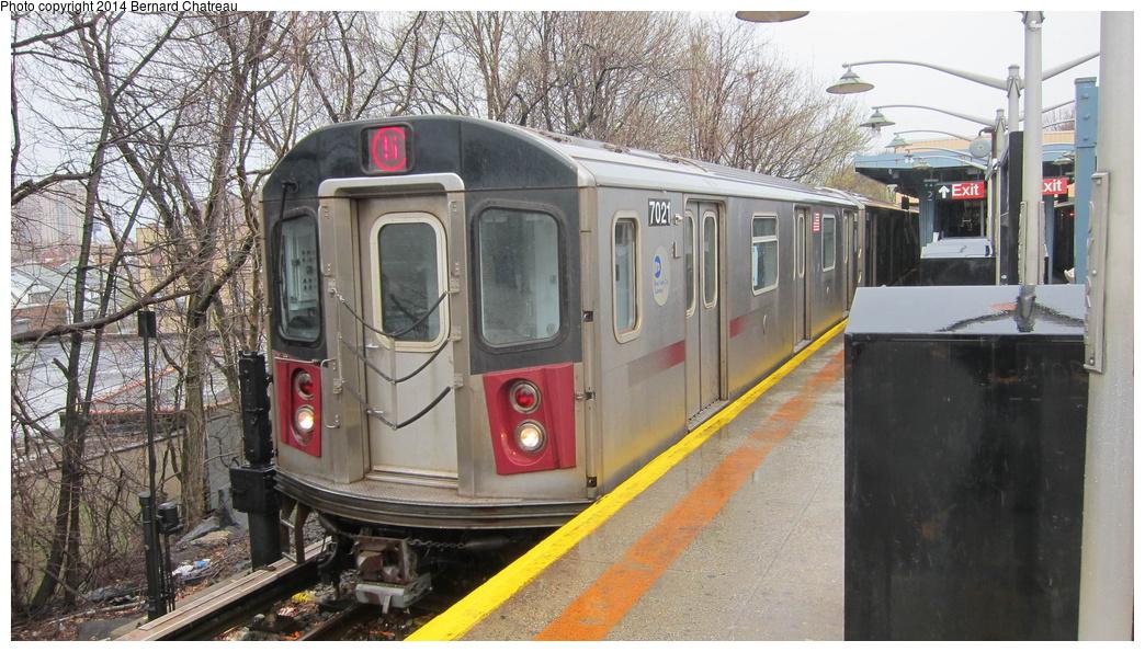 (323k, 1044x595)<br><b>Country:</b> United States<br><b>City:</b> New York<br><b>System:</b> New York City Transit<br><b>Line:</b> IRT Dyre Ave. Line<br><b>Location:</b> Dyre Avenue <br><b>Route:</b> 5<br><b>Car:</b> R-142 (Option Order, Bombardier, 2002-2003)  7021 <br><b>Photo by:</b> Bernard Chatreau<br><b>Date:</b> 4/12/2011<br><b>Viewed (this week/total):</b> 2 / 1137