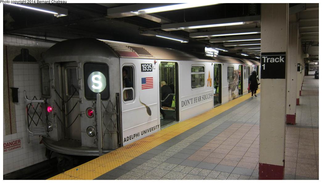 (230k, 1044x595)<br><b>Country:</b> United States<br><b>City:</b> New York<br><b>System:</b> New York City Transit<br><b>Line:</b> IRT Times Square-Grand Central Shuttle<br><b>Location:</b> Grand Central <br><b>Route:</b> S<br><b>Car:</b> R-62A (Bombardier, 1984-1987)  1935 <br><b>Photo by:</b> Bernard Chatreau<br><b>Date:</b> 4/8/2011<br><b>Viewed (this week/total):</b> 2 / 567