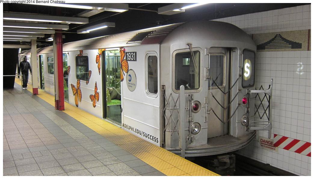(268k, 1044x595)<br><b>Country:</b> United States<br><b>City:</b> New York<br><b>System:</b> New York City Transit<br><b>Line:</b> IRT Times Square-Grand Central Shuttle<br><b>Location:</b> Grand Central <br><b>Route:</b> S<br><b>Car:</b> R-62A (Bombardier, 1984-1987)  1931 <br><b>Photo by:</b> Bernard Chatreau<br><b>Date:</b> 4/8/2011<br><b>Viewed (this week/total):</b> 1 / 548