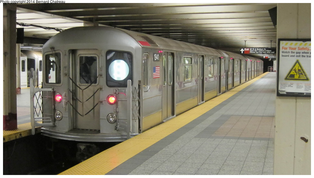 (220k, 1044x594)<br><b>Country:</b> United States<br><b>City:</b> New York<br><b>System:</b> New York City Transit<br><b>Line:</b> IRT Times Square-Grand Central Shuttle<br><b>Location:</b> Grand Central <br><b>Route:</b> S<br><b>Car:</b> R-62A (Bombardier, 1984-1987)  1941 <br><b>Photo by:</b> Bernard Chatreau<br><b>Date:</b> 4/8/2011<br><b>Viewed (this week/total):</b> 1 / 583