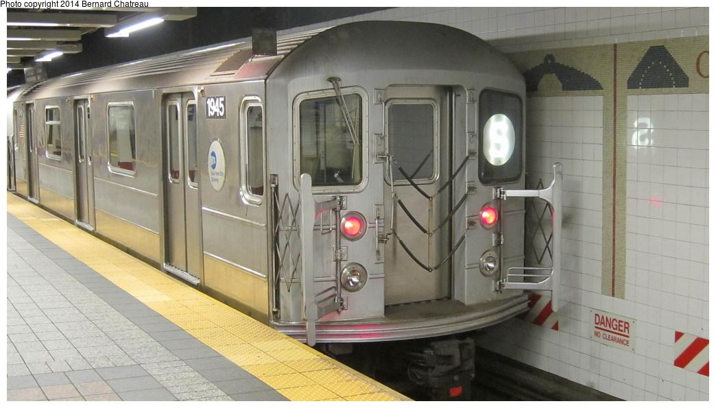 (236k, 1044x595)<br><b>Country:</b> United States<br><b>City:</b> New York<br><b>System:</b> New York City Transit<br><b>Line:</b> IRT Times Square-Grand Central Shuttle<br><b>Location:</b> Grand Central <br><b>Route:</b> S<br><b>Car:</b> R-62A (Bombardier, 1984-1987)  1945 <br><b>Photo by:</b> Bernard Chatreau<br><b>Date:</b> 4/8/2011<br><b>Viewed (this week/total):</b> 1 / 499
