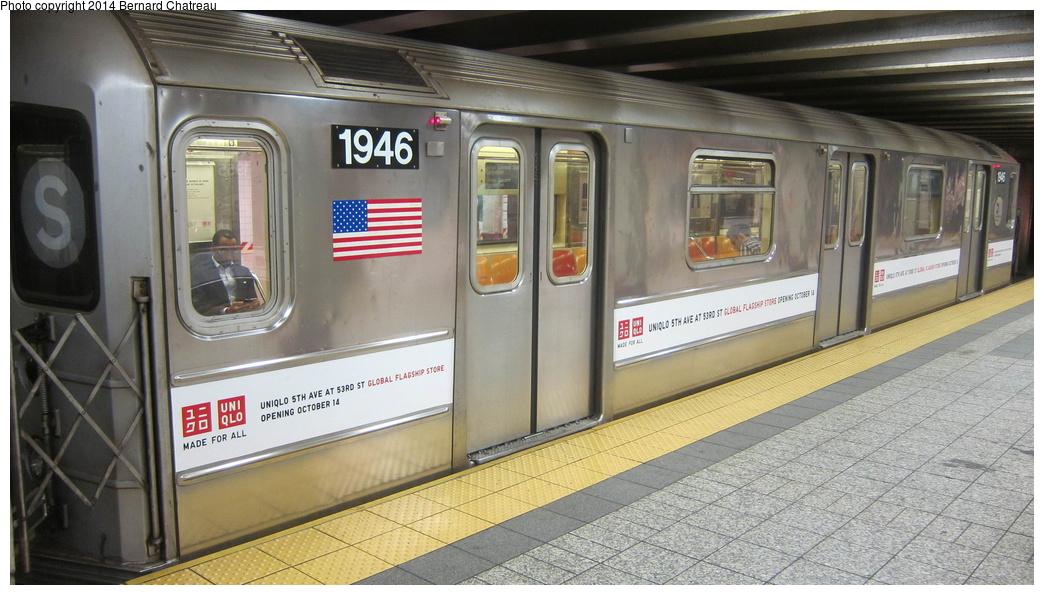 (270k, 1044x595)<br><b>Country:</b> United States<br><b>City:</b> New York<br><b>System:</b> New York City Transit<br><b>Line:</b> IRT Times Square-Grand Central Shuttle<br><b>Location:</b> Grand Central <br><b>Route:</b> S<br><b>Car:</b> R-62A (Bombardier, 1984-1987)  1946 <br><b>Photo by:</b> Bernard Chatreau<br><b>Date:</b> 10/10/2011<br><b>Viewed (this week/total):</b> 1 / 546