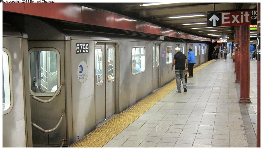 (255k, 1044x595)<br><b>Country:</b> United States<br><b>City:</b> New York<br><b>System:</b> New York City Transit<br><b>Line:</b> IRT Lenox Line<br><b>Location:</b> 110th Street/Central Park North <br><b>Route:</b> 2<br><b>Car:</b> R-142 (Primary Order, Bombardier, 1999-2002)  6799 <br><b>Photo by:</b> Bernard Chatreau<br><b>Date:</b> 9/23/2011<br><b>Viewed (this week/total):</b> 0 / 1111