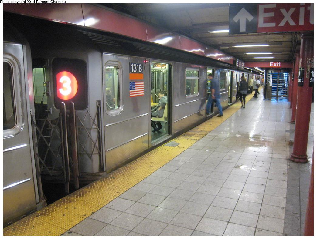 (337k, 1044x788)<br><b>Country:</b> United States<br><b>City:</b> New York<br><b>System:</b> New York City Transit<br><b>Line:</b> IRT Lenox Avenue Line<br><b>Location:</b> 110th Street/Central Park North<br><b>Route:</b> 3<br><b>Car:</b> R-62 (Kawasaki, 1983-1985) 1318 <br><b>Photo by:</b> Bernard Chatreau<br><b>Date:</b> 9/23/2011<br><b>Viewed (this week/total):</b> 4 / 1730