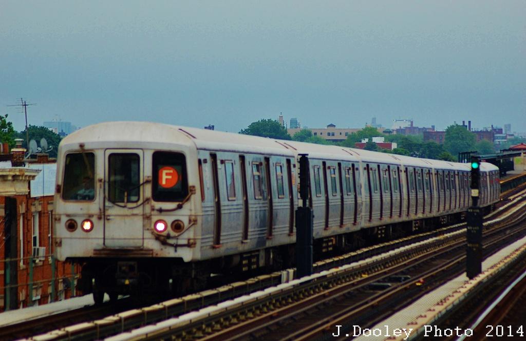 (272k, 1024x665)<br><b>Country:</b> United States<br><b>City:</b> New York<br><b>System:</b> New York City Transit<br><b>Line:</b> BMT Culver Line<br><b>Location:</b> Avenue I <br><b>Route:</b> F<br><b>Car:</b> R-46 (Pullman-Standard, 1974-75)  <br><b>Photo by:</b> John Dooley<br><b>Date:</b> 6/9/2014<br><b>Viewed (this week/total):</b> 1 / 850