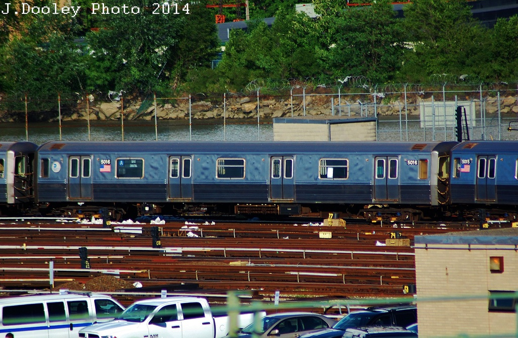 (413k, 1024x668)<br><b>Country:</b> United States<br><b>City:</b> New York<br><b>System:</b> New York City Transit<br><b>Location:</b> 207th Street Yard<br><b>Route:</b> A<br><b>Car:</b> R-68A (Kawasaki, 1988-1989)  5016 <br><b>Photo by:</b> John Dooley<br><b>Date:</b> 6/26/2014<br><b>Viewed (this week/total):</b> 0 / 844