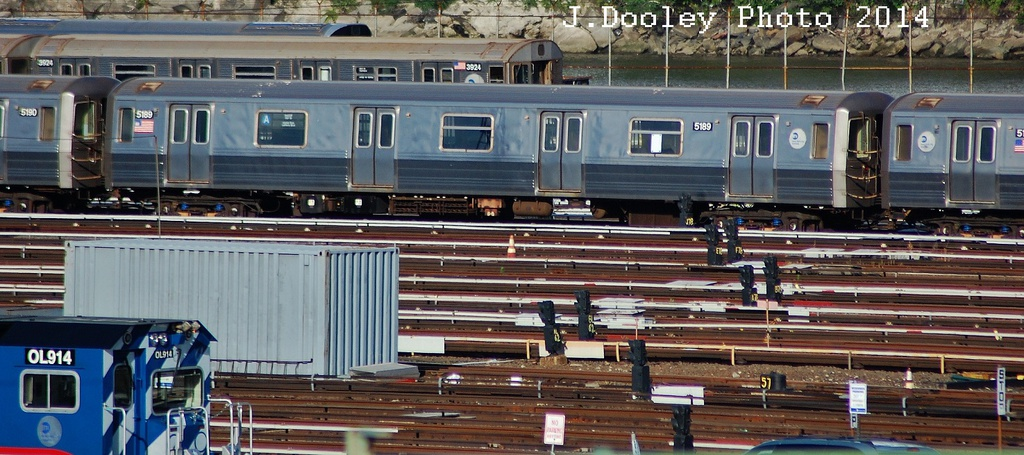 (297k, 1024x455)<br><b>Country:</b> United States<br><b>City:</b> New York<br><b>System:</b> New York City Transit<br><b>Location:</b> 207th Street Yard<br><b>Route:</b> A<br><b>Car:</b> R-68A (Kawasaki, 1988-1989)  5189 <br><b>Photo by:</b> John Dooley<br><b>Date:</b> 6/26/2014<br><b>Viewed (this week/total):</b> 1 / 856