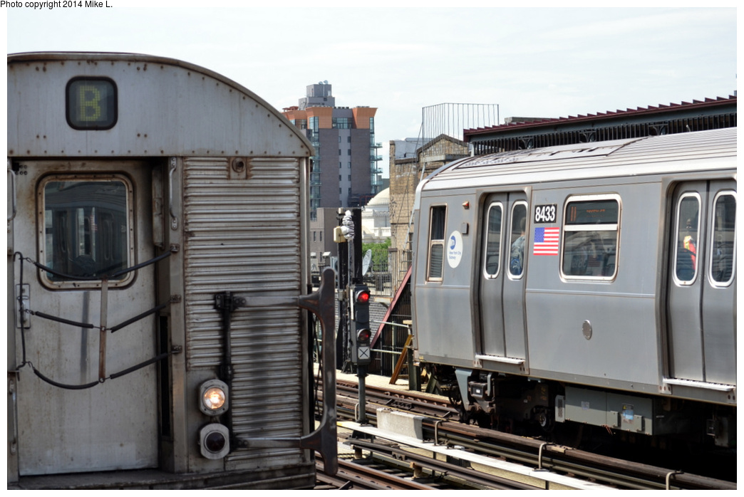(275k, 1044x698)<br><b>Country:</b> United States<br><b>City:</b> New York<br><b>System:</b> New York City Transit<br><b>Line:</b> BMT Nassau Street/Jamaica Line<br><b>Location:</b> Marcy Avenue <br><b>Route:</b> J<br><b>Car:</b> R-160A-1 (Alstom, 2005-2008, 4 car sets)  8433 <br><b>Photo by:</b> Mike L.<br><b>Date:</b> 6/21/2014<br><b>Viewed (this week/total):</b> 0 / 1102