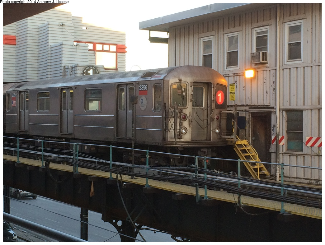 (287k, 1044x788)<br><b>Country:</b> United States<br><b>City:</b> New York<br><b>System:</b> New York City Transit<br><b>Line:</b> IRT West Side Line<br><b>Location:</b> 242nd Street/Van Cortlandt Park<br><b>Route:</b> 1<br><b>Car:</b> R-62A (Bombardier, 1984-1987) 2356 <br><b>Photo by:</b> Anthony J. Liccese<br><b>Date:</b> 1/30/2014<br><b>Viewed (this week/total):</b> 1 / 1860
