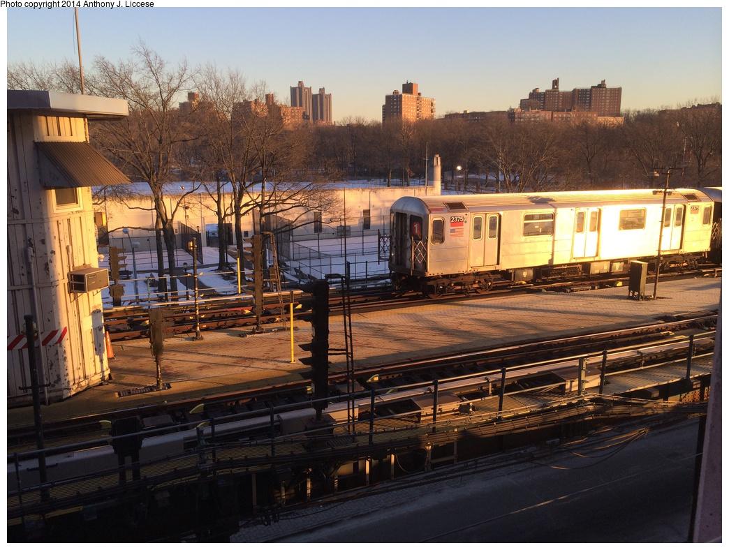 (350k, 1044x788)<br><b>Country:</b> United States<br><b>City:</b> New York<br><b>System:</b> New York City Transit<br><b>Line:</b> IRT West Side Line<br><b>Location:</b> 242nd Street/Van Cortlandt Park <br><b>Route:</b> 1<br><b>Car:</b> R-62A (Bombardier, 1984-1987)  2375 <br><b>Photo by:</b> Anthony J. Liccese<br><b>Date:</b> 1/30/2014<br><b>Viewed (this week/total):</b> 0 / 1107