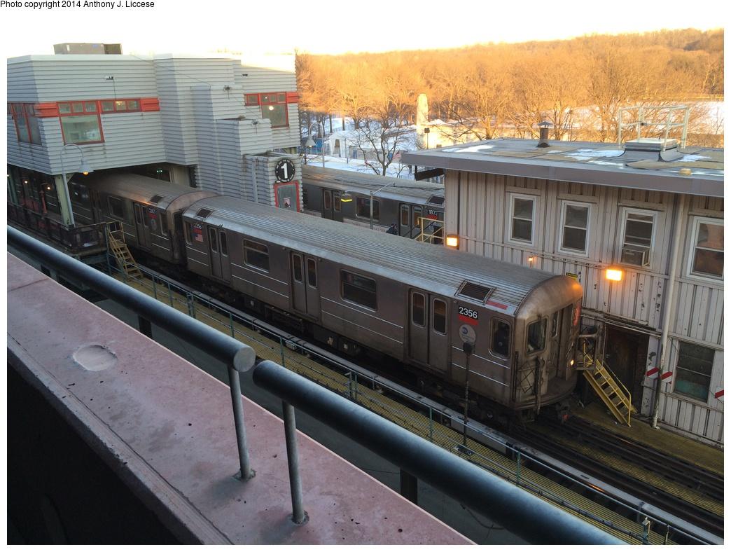(324k, 1044x788)<br><b>Country:</b> United States<br><b>City:</b> New York<br><b>System:</b> New York City Transit<br><b>Line:</b> IRT West Side Line<br><b>Location:</b> 242nd Street/Van Cortlandt Park <br><b>Route:</b> 1<br><b>Car:</b> R-62A (Bombardier, 1984-1987)  2356 <br><b>Photo by:</b> Anthony J. Liccese<br><b>Date:</b> 1/30/2014<br><b>Viewed (this week/total):</b> 1 / 1109