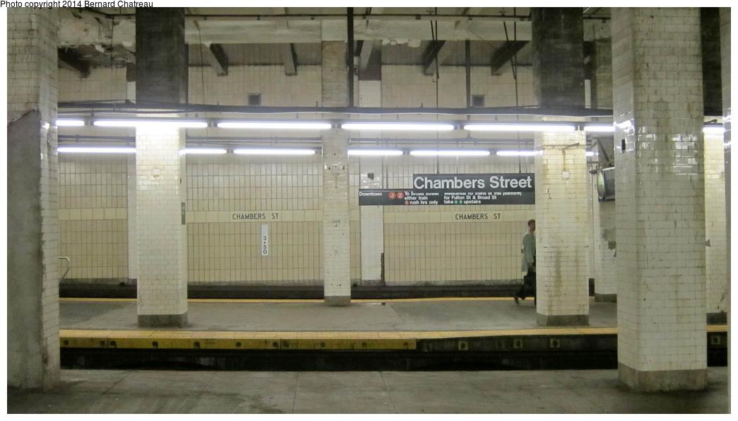 (218k, 1044x595)<br><b>Country:</b> United States<br><b>City:</b> New York<br><b>System:</b> New York City Transit<br><b>Line:</b> BMT Nassau Street/Jamaica Line<br><b>Location:</b> Chambers Street <br><b>Photo by:</b> Bernard Chatreau<br><b>Date:</b> 4/11/2011<br><b>Viewed (this week/total):</b> 2 / 875