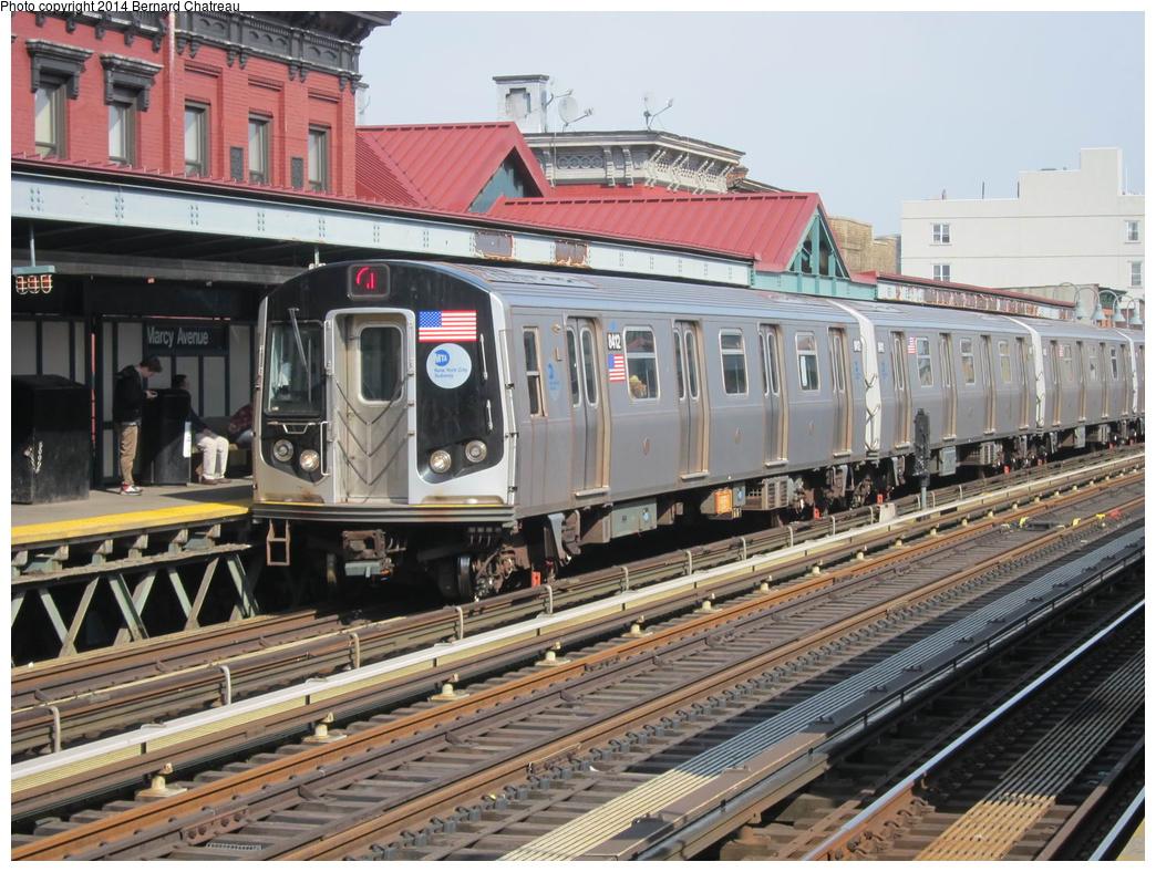 (366k, 1044x788)<br><b>Country:</b> United States<br><b>City:</b> New York<br><b>System:</b> New York City Transit<br><b>Line:</b> BMT Nassau Street/Jamaica Line<br><b>Location:</b> Marcy Avenue <br><b>Route:</b> J<br><b>Car:</b> R-160A-1 (Alstom, 2005-2008, 4 car sets)  8412 <br><b>Photo by:</b> Bernard Chatreau<br><b>Date:</b> 4/11/2011<br><b>Viewed (this week/total):</b> 0 / 920