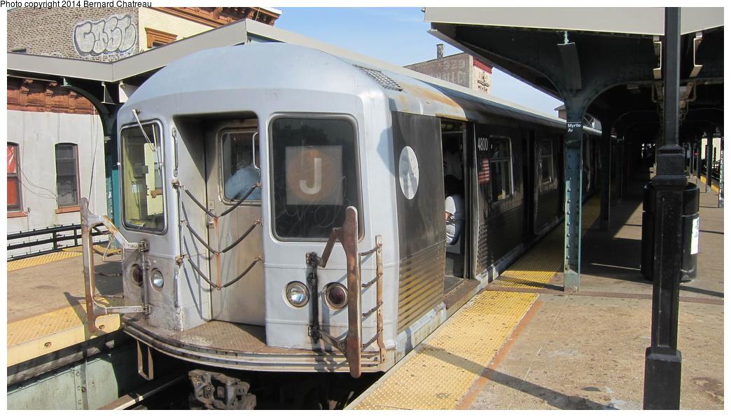 (277k, 1044x595)<br><b>Country:</b> United States<br><b>City:</b> New York<br><b>System:</b> New York City Transit<br><b>Line:</b> BMT Nassau Street/Jamaica Line<br><b>Location:</b> Myrtle Avenue <br><b>Route:</b> J<br><b>Car:</b> R-42 (St. Louis, 1969-1970)  4800 <br><b>Photo by:</b> Bernard Chatreau<br><b>Date:</b> 4/11/2011<br><b>Viewed (this week/total):</b> 0 / 918