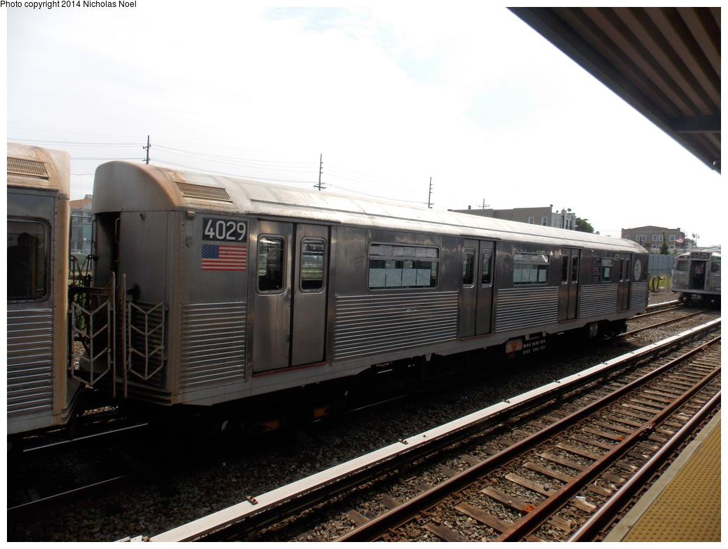 (337k, 1044x788)<br><b>Country:</b> United States<br><b>City:</b> New York<br><b>System:</b> New York City Transit<br><b>Location:</b> Rockaway Park Yard<br><b>Route:</b> Transit Museum Nostalgia Train<br><b>Car:</b> R-38 (St. Louis, 1966-1967)  4029 <br><b>Photo by:</b> Nicholas Noel<br><b>Date:</b> 8/3/2014<br><b>Notes:</b> Nostalgia Special laid up in yard<br><b>Viewed (this week/total):</b> 4 / 925