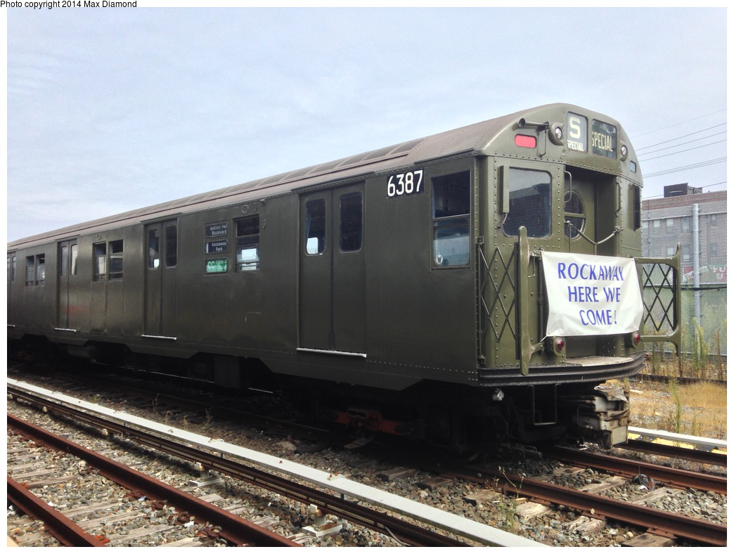 (295k, 1044x788)<br><b>Country:</b> United States<br><b>City:</b> New York<br><b>System:</b> New York City Transit<br><b>Location:</b> Rockaway Park Yard<br><b>Route:</b> Transit Museum Nostalgia Train<br><b>Car:</b> R-16 (American Car & Foundry, 1955) 6387 <br><b>Photo by:</b> Max Diamond<br><b>Date:</b> 8/3/2014<br><b>Notes:</b> Transit Museum Nostalgia special laid up in yard<br><b>Viewed (this week/total):</b> 2 / 1526