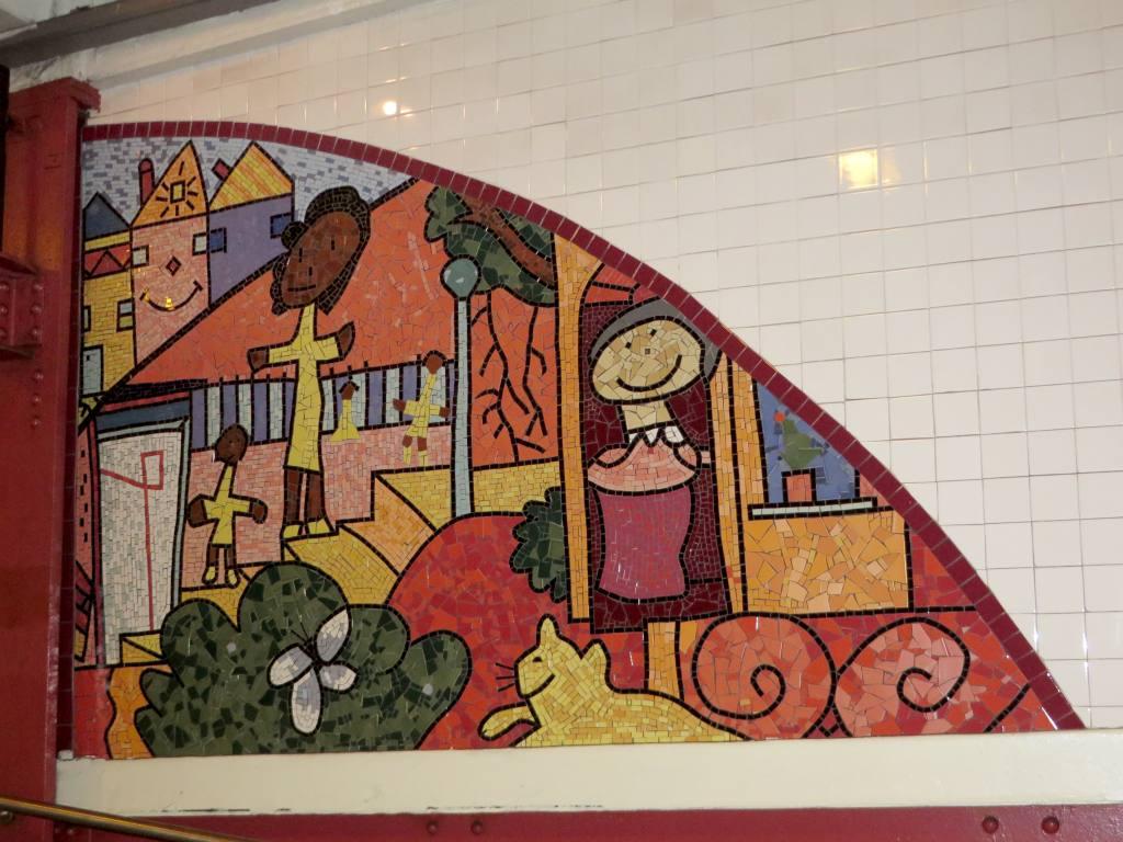 (132k, 1024x768)<br><b>Country:</b> United States<br><b>City:</b> New York<br><b>System:</b> New York City Transit<br><b>Line:</b> IND Fulton Street Line<br><b>Location:</b> Utica Avenue<br><b>Photo by:</b> Robbie Rosenfeld<br><b>Date:</b> 9/16/2014<br><b>Artwork:</b> <i>Children's Cathedral</i>, Jimmy James Green, 1996<br><b>Viewed (this week/total):</b> 1 / 1153