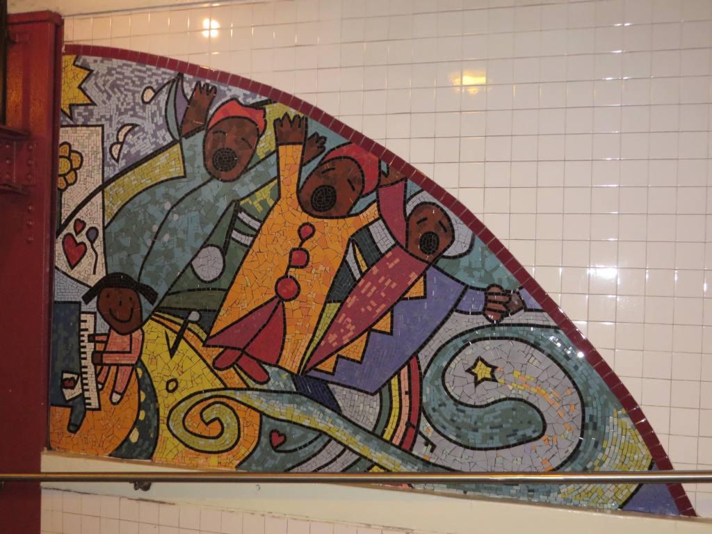 (134k, 1024x768)<br><b>Country:</b> United States<br><b>City:</b> New York<br><b>System:</b> New York City Transit<br><b>Line:</b> IND Fulton Street Line<br><b>Location:</b> Utica Avenue<br><b>Photo by:</b> Robbie Rosenfeld<br><b>Date:</b> 9/16/2014<br><b>Artwork:</b> <i>Children's Cathedral</i>, Jimmy James Green, 1996<br><b>Viewed (this week/total):</b> 1 / 1118