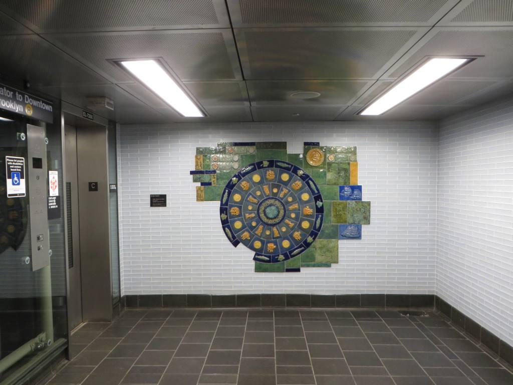 (102k, 1024x768)<br><b>Country:</b> United States<br><b>City:</b> New York<br><b>System:</b> New York City Transit<br><b>Line:</b> BMT Broadway Line<br><b>Location:</b> Cortlandt Street-World Trade Center <br><b>Photo by:</b> Robbie Rosenfeld<br><b>Date:</b> 11/10/2014<br><b>Artwork:</b> <i>Trade, Treasure, and Travel</i>, Margie Hughto (1997).<br><b>Viewed (this week/total):</b> 1 / 1016