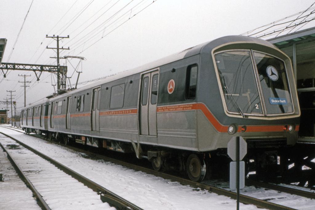 (304k, 1024x683)<br><b>Country:</b> United States<br><b>City:</b> Chicago, IL<br><b>System:</b> Chicago Transit Authority<br><b>Line:</b> CTA Yellow (Skokie)<br><b>Location:</b> Dempster<br><b>Car:</b> SOAC  <br><b>Collection of:</b> David Pirmann<br><b>Date:</b> 2/8/1975<br><b>Viewed (this week/total):</b> 3 / 1704