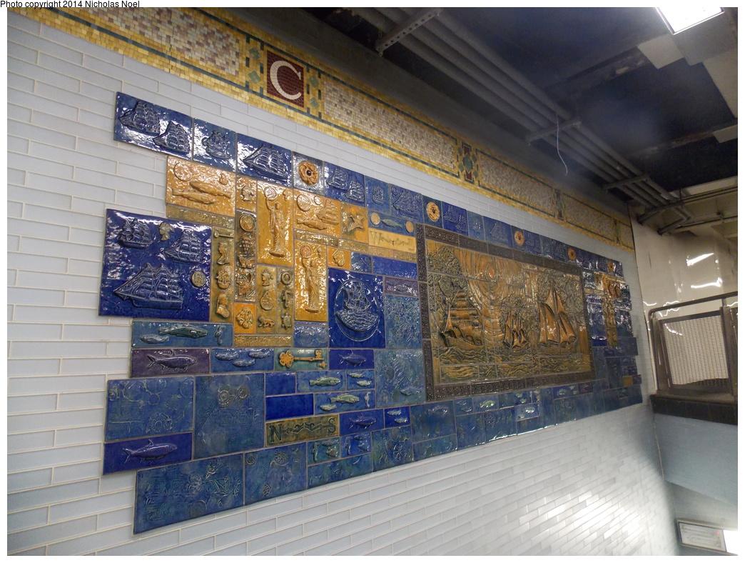 (423k, 1044x788)<br><b>Country:</b> United States<br><b>City:</b> New York<br><b>System:</b> New York City Transit<br><b>Line:</b> BMT Broadway Line<br><b>Location:</b> Cortlandt Street-World Trade Center <br><b>Photo by:</b> Nicholas Noel<br><b>Date:</b> 11/10/2014<br><b>Artwork:</b> <i>Trade, Treasure, and Travel</i>, Margie Hughto (1997).<br><b>Viewed (this week/total):</b> 1 / 814
