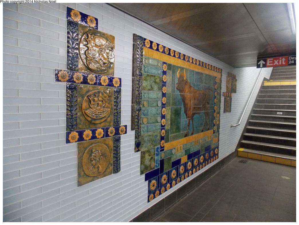 (378k, 1044x788)<br><b>Country:</b> United States<br><b>City:</b> New York<br><b>System:</b> New York City Transit<br><b>Line:</b> BMT Broadway Line<br><b>Location:</b> Cortlandt Street-World Trade Center <br><b>Photo by:</b> Nicholas Noel<br><b>Date:</b> 11/15/2014<br><b>Artwork:</b> <i>Trade, Treasure, and Travel</i>, Margie Hughto (1997).<br><b>Viewed (this week/total):</b> 1 / 716
