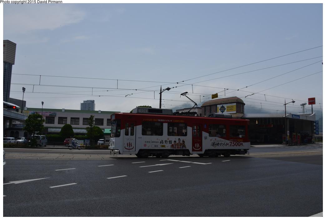 (212k, 1044x703)<br><b>Country:</b> Japan<br><b>City:</b> Nagasaki<br><b>System:</b> Nagaden (Nagasaki Electric Railway)<br><b>Location:</b> 長崎駅前 Nagasaki Eki-mae (1,3) <br><b>Car:</b>  1506 <br><b>Photo by:</b> David Pirmann<br><b>Date:</b> 6/12/2015<br><b>Viewed (this week/total):</b> 0 / 605