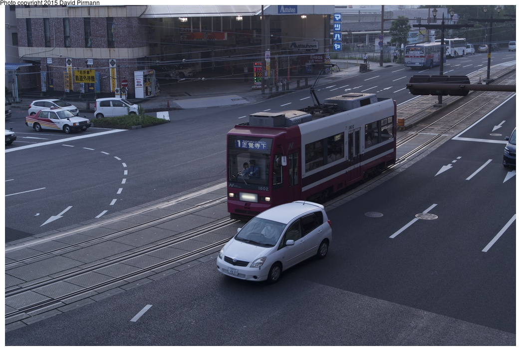 (276k, 1044x703)<br><b>Country:</b> Japan<br><b>City:</b> Nagasaki<br><b>System:</b> Nagaden (Nagasaki Electric Railway)<br><b>Location:</b> 長崎駅前 Nagasaki Eki-mae (1,3) <br><b>Car:</b>  1802 <br><b>Photo by:</b> David Pirmann<br><b>Date:</b> 6/12/2015<br><b>Viewed (this week/total):</b> 0 / 571