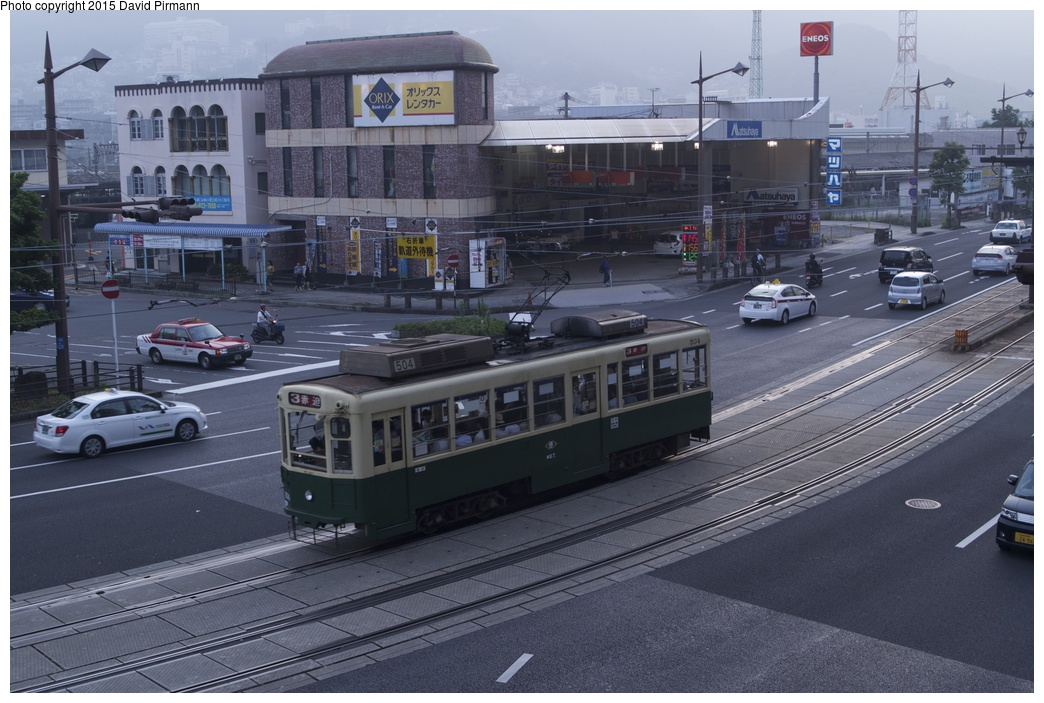 (279k, 1044x703)<br><b>Country:</b> Japan<br><b>City:</b> Nagasaki<br><b>System:</b> Nagaden (Nagasaki Electric Railway)<br><b>Location:</b> 長崎駅前 Nagasaki Eki-mae (1,3) <br><b>Car:</b>  504 <br><b>Photo by:</b> David Pirmann<br><b>Date:</b> 6/12/2015<br><b>Viewed (this week/total):</b> 1 / 617