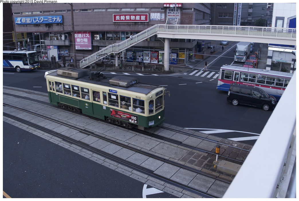 (289k, 1044x703)<br><b>Country:</b> Japan<br><b>City:</b> Nagasaki<br><b>System:</b> Nagaden (Nagasaki Electric Railway)<br><b>Location:</b> 長崎駅前 Nagasaki Eki-mae (1,3) <br><b>Car:</b>  502 <br><b>Photo by:</b> David Pirmann<br><b>Date:</b> 6/12/2015<br><b>Viewed (this week/total):</b> 0 / 555