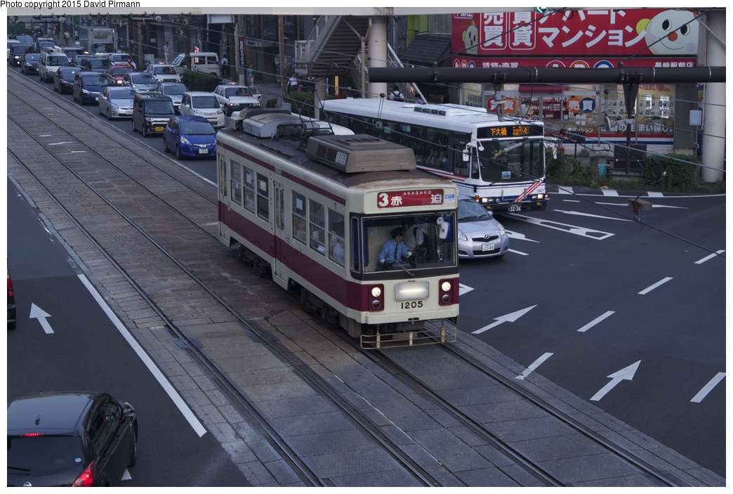 (283k, 1044x703)<br><b>Country:</b> Japan<br><b>City:</b> Nagasaki<br><b>System:</b> Nagaden (Nagasaki Electric Railway)<br><b>Location:</b> 長崎駅前 Nagasaki Eki-mae (1,3) <br><b>Car:</b>  1205 <br><b>Photo by:</b> David Pirmann<br><b>Date:</b> 6/12/2015<br><b>Viewed (this week/total):</b> 0 / 593