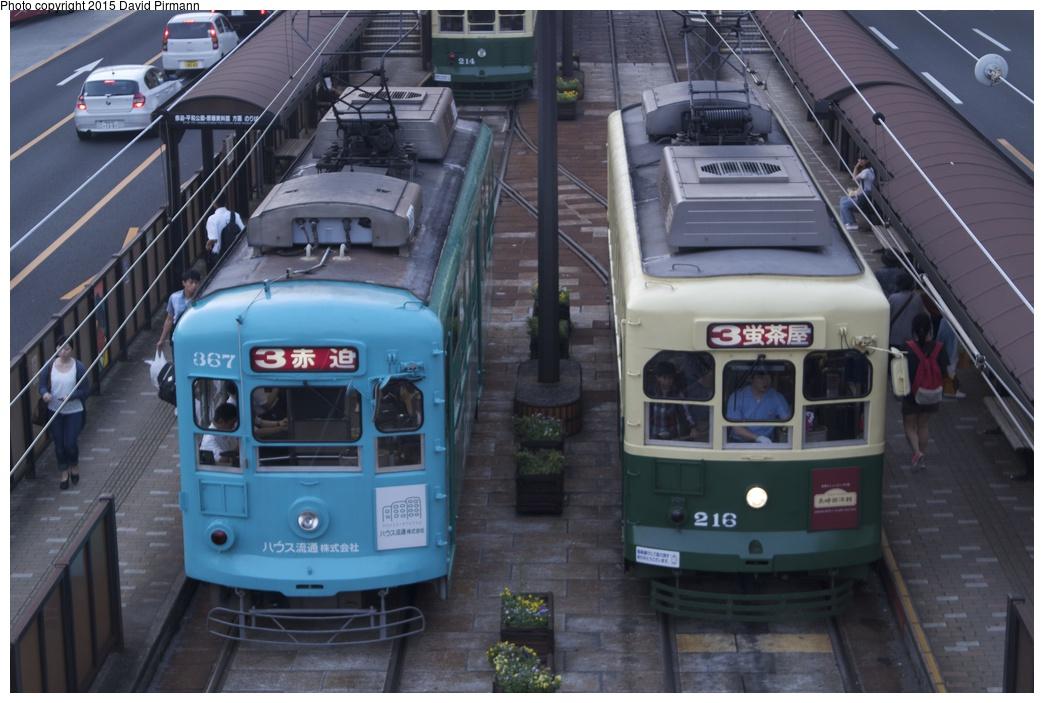 (246k, 1044x703)<br><b>Country:</b> Japan<br><b>City:</b> Nagasaki<br><b>System:</b> Nagaden (Nagasaki Electric Railway)<br><b>Location:</b> 長崎駅前 Nagasaki Eki-mae (1,3) <br><b>Car:</b>  367/216 <br><b>Photo by:</b> David Pirmann<br><b>Date:</b> 6/12/2015<br><b>Viewed (this week/total):</b> 0 / 581