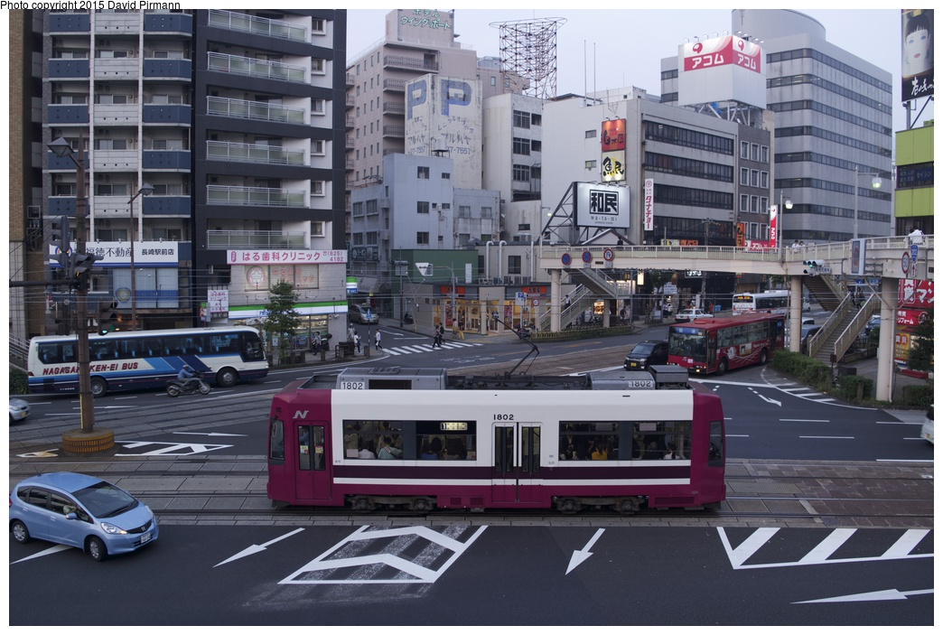 (288k, 1044x703)<br><b>Country:</b> Japan<br><b>City:</b> Nagasaki<br><b>System:</b> Nagaden (Nagasaki Electric Railway)<br><b>Location:</b> 長崎駅前 Nagasaki Eki-mae (1,3) <br><b>Car:</b>  1802 <br><b>Photo by:</b> David Pirmann<br><b>Date:</b> 6/12/2015<br><b>Viewed (this week/total):</b> 0 / 603