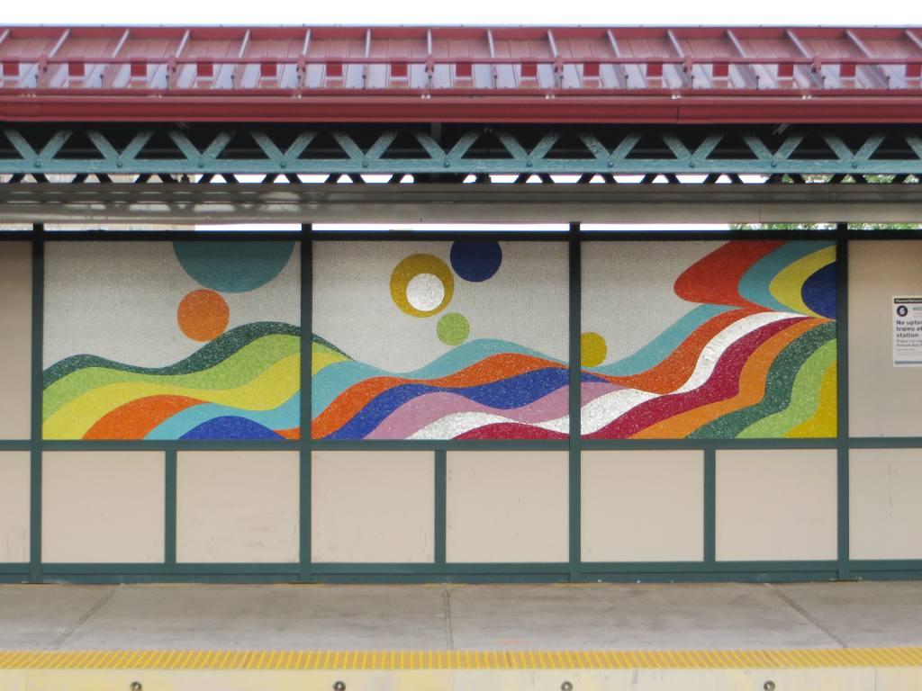 (106k, 1024x768)<br><b>Country:</b> United States<br><b>City:</b> New York<br><b>System:</b> New York City Transit<br><b>Line:</b> IRT Pelham Line<br><b>Location:</b> Buhre Avenue <br><b>Photo by:</b> Robbie Rosenfeld<br><b>Date:</b> 5/12/2015<br><b>Artwork:</b> <i>Have a Happy Day</i>, Soonae Tark (2015).<br><b>Viewed (this week/total):</b> 0 / 1094