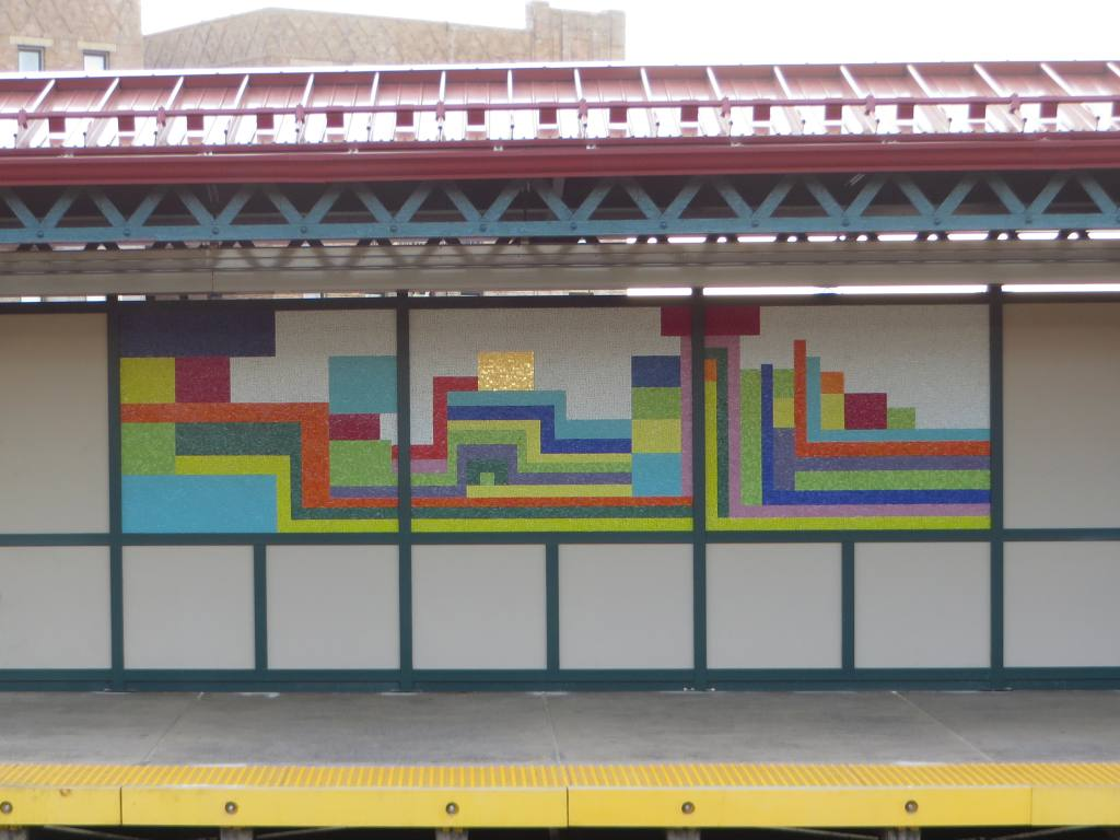 (98k, 1024x768)<br><b>Country:</b> United States<br><b>City:</b> New York<br><b>System:</b> New York City Transit<br><b>Line:</b> IRT Pelham Line<br><b>Location:</b> Buhre Avenue <br><b>Photo by:</b> Robbie Rosenfeld<br><b>Date:</b> 5/12/2015<br><b>Artwork:</b> <i>Have a Happy Day</i>, Soonae Tark (2015).<br><b>Viewed (this week/total):</b> 2 / 747