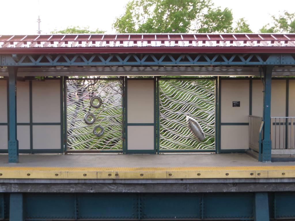 (133k, 1024x768)<br><b>Country:</b> United States<br><b>City:</b> New York<br><b>System:</b> New York City Transit<br><b>Line:</b> IRT Pelham Line<br><b>Location:</b> Middletown Road <br><b>Photo by:</b> Robbie Rosenfeld<br><b>Date:</b> 5/12/2015<br><b>Artwork:</b> <i>Cross-Bronx Waterway</i>,  Schachter/Levi (2015).<br><b>Viewed (this week/total):</b> 4 / 739