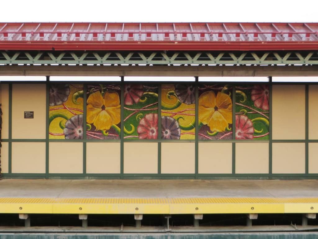 (110k, 1024x768)<br><b>Country:</b> United States<br><b>City:</b> New York<br><b>System:</b> New York City Transit<br><b>Line:</b> IRT Pelham Line<br><b>Location:</b> Zerega Avenue <br><b>Photo by:</b> Robbie Rosenfeld<br><b>Date:</b> 5/12/2015<br><b>Artwork:</b> <i>Garden of Earthly Delights</i>, Jaime Arredondo (2015).<br><b>Viewed (this week/total):</b> 4 / 741