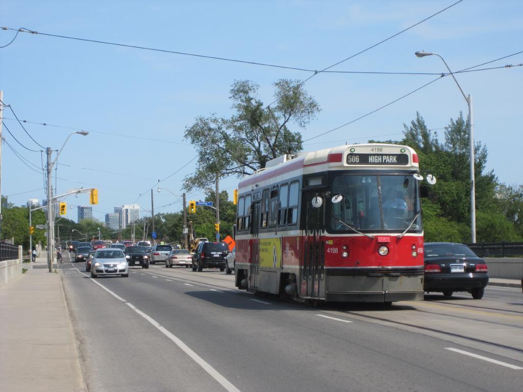 (101k, 1024x768)<br><b>Country:</b> Canada<br><b>City:</b> Toronto<br><b>System:</b> TTC<br><b>Line:</b> TTC 506-Carlton<br><b>Location:</b> Dundas/Sterling<br><b>Car:</b> TTC CLRV 4198 <br><b>Photo by:</b> Collection of nycsubway.org<br><b>Date:</b> 7/3/2015<br><b>Notes:</b> Westbound.  The high-rises in the background are condo developments on or near Lake Shore Blvd.<br><b>Viewed (this week/total):</b> 0 / 441